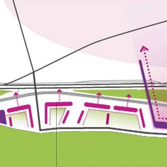 Stedenbouwkundig plan voor kantoren en scholen Budaörs, Budapest  Hongarije