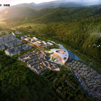 Stedenbouwkundig plan met oa bezoekerscentrum in de Tian Mu Mountain Valley in China