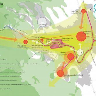 Transformatie van oud industrieterrein in het centrum van Miskolc in Hungary